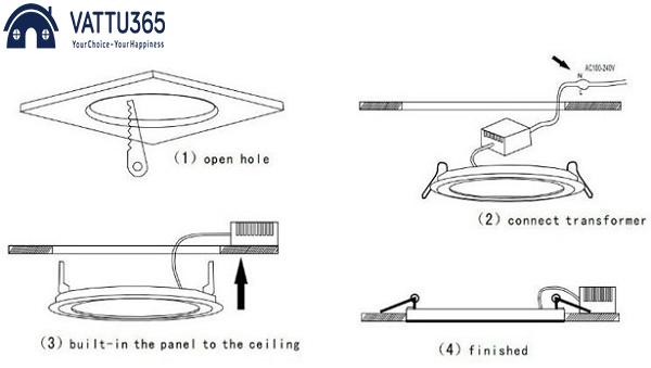 cách lắp đèn ốp trần vuông tròn panasonic