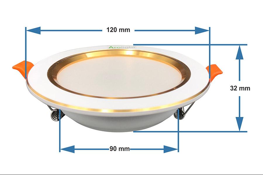 Bảng thông số kích thước các loại đèn LED âm trần chi tiết