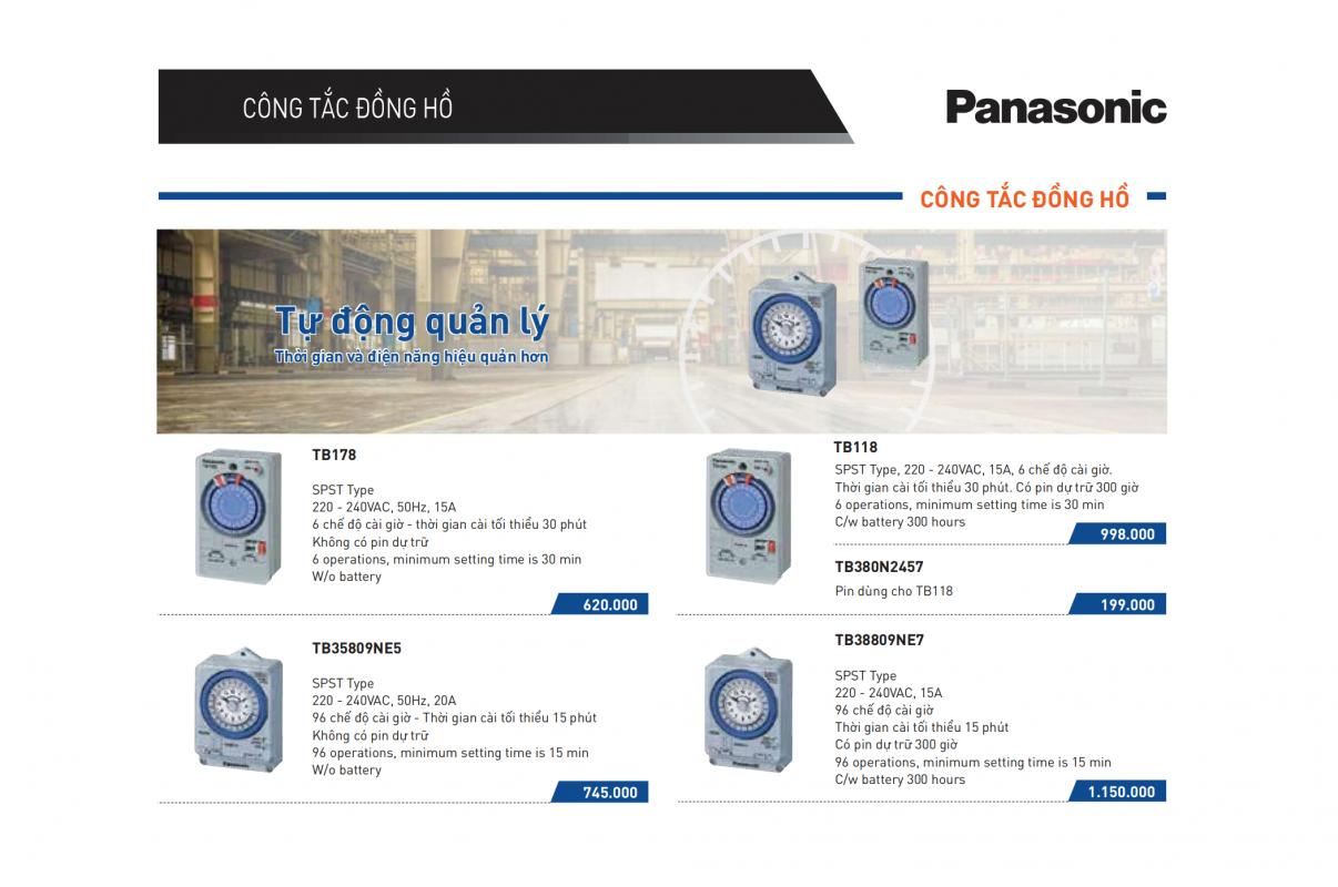 Catalogue Bảng giá công tắc đồng hồ Panasonic 2021