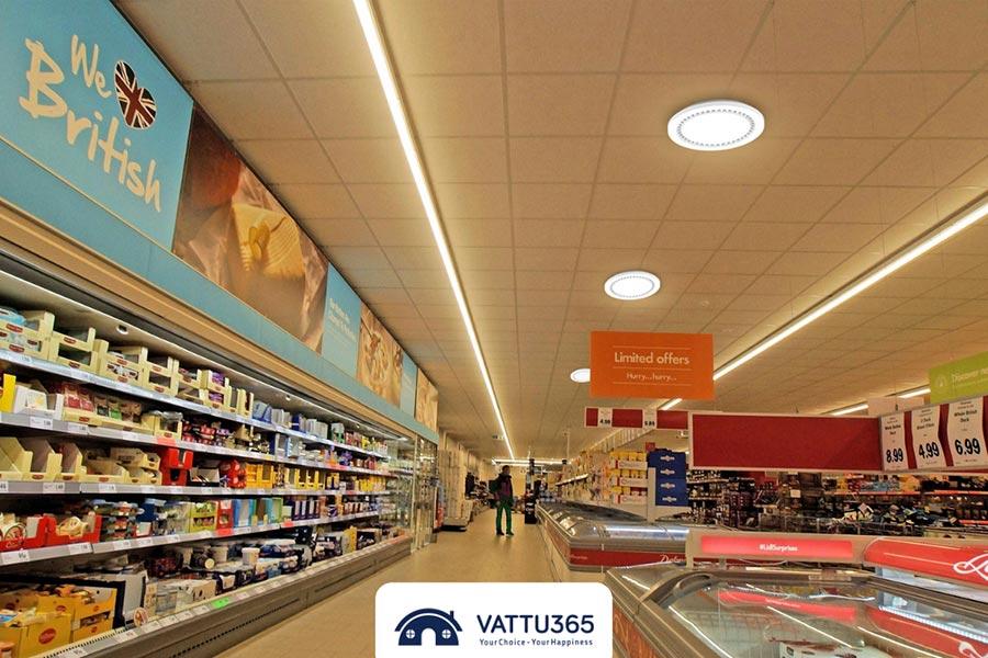 đèn downlight ốp trần cho siêu thị